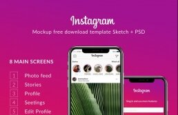 Instagram UI-UX kit template Sketch and PSD | Free Download